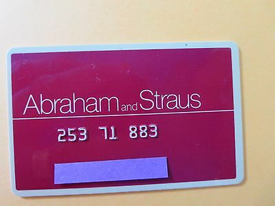 Vintage A&s Abraham & Straus Department Store Credit Card