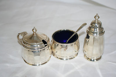 Solid silver condiment set with liners and spoons hallmarked for B'ham 1958