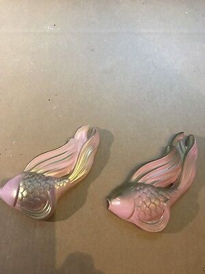 Chalkware Pink And Gold Fish Pair Hanging Wall Plaque