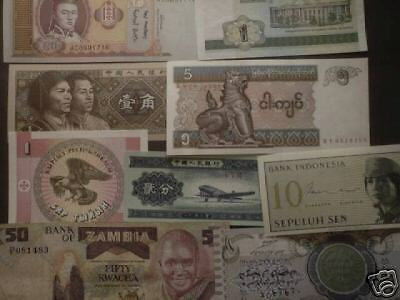World paper money; lot of 50 different circulated-Uncirculated superior mix
