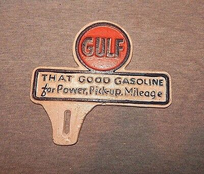 """GULF LICENSE TAG """"That Good Gasoline For Power Pickup Mileage"""" CAST IRON SIGN"""