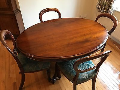 antique mahogany oval dining table, tilt top
