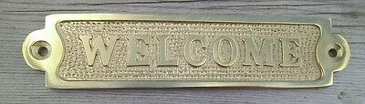 Brass WELCOME Sign Plaque Nautical Ship Boat Decor NEW