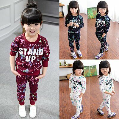 Hoodie T-shirt Tops+Pants Outfits 2PCS Set Toddler Kids Baby Girl Sports Clothes