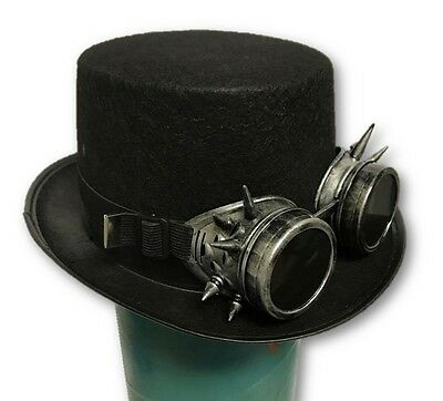 Black Steampunk Top Hat & Silver Spiked Goggles Set Halloween Adult Cosplay New