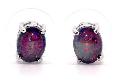 Sterling Silver Black Fire Opal 3.45ct Stud Earrings (925)