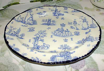 WOOD & SONS England TOILLE DE JOUY BLUE scalloped TOILE oval PLATTER  EXC