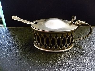 Antique, Fretted Silver Plated Mustard Pot, With Cobalt Blue Glass Liner & Spoon