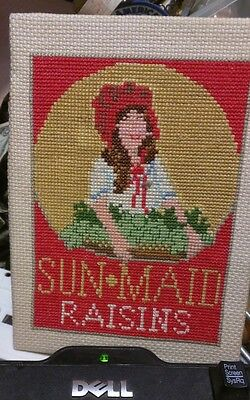 Vintage SUN-MAID GIRL Raisins FINISHED COUNTED CROSS STITCH PICTURE