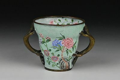 18th / 19th Century Chinese Cantonese Enamel Libation Cup w/ Dog Handles