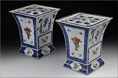 Pair of 18th Century Chinese Export Porcelain Bow Pots w/ Lids