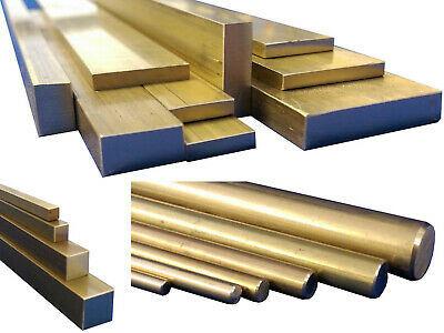 Brass CZ121 Stock Metal, Square, Flat Bar, Round Rod, 50mm to 600mm Long