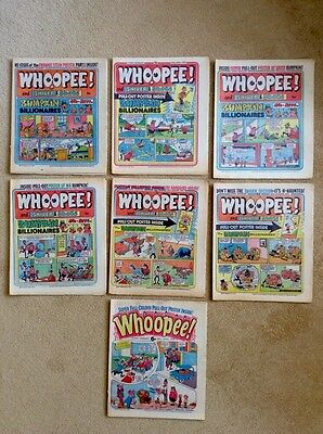 7 x WHOOPEE Comics ~ 1975 & 1976 PLUS Centre-Page Posters
