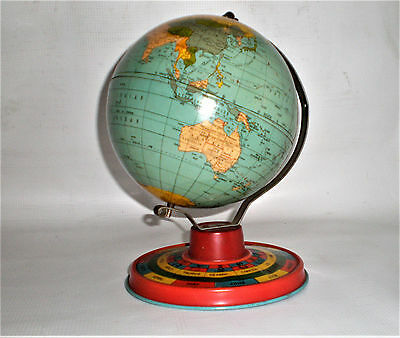 RARE Unique Antique 1931 Ohio Art Co. Vintage Childs Metal Tin Toy World Globe