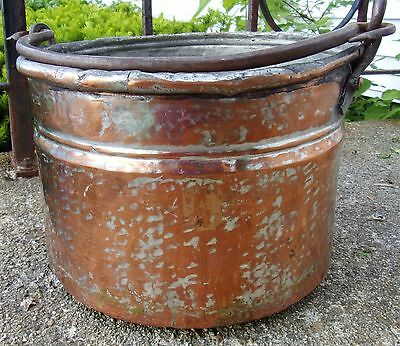 Antique  Hammered Copper Cualdron Bucket Hand Wrought Iron Hand Apple Pot 1870s