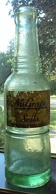 Antique NuGrape Lime Green Thick Glass Soda Bottle Biddeford Maine Rare Old Find