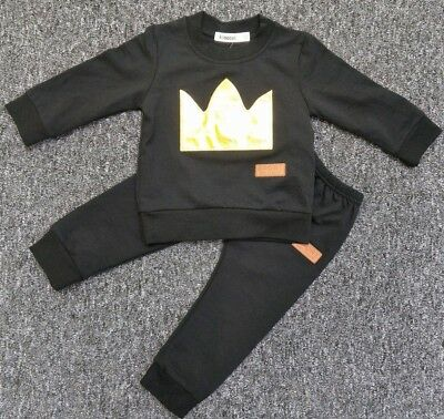Boys black tracksuit little man jumper/bottom 6-9/9-12/12-18/18-24