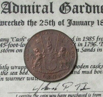 India 1808 10 Cash Admiral Gardner Shipwreck Coin With Coa