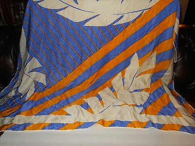 "Jeannene Booher Silk Large Goldenrod Periwinkle Scarf Wrap 42"" x 43"" #3323"