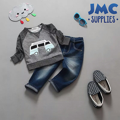 Boys Clothing 2pcs set Jumper Sweater Jeans kids clothes outfit baby new 1-5 yrs