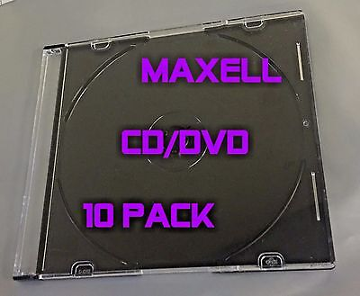 10 Pcs MAXELL Hard Plastic Square CD DVD Blu-Ray Disc Jewel Case Clear and Black