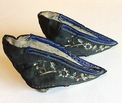 Pair of 19th century embroidered silk Chinese lotus shoes