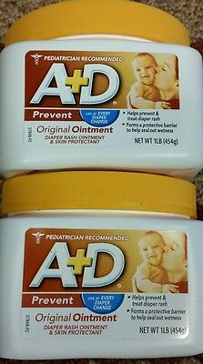 2-A&D Original Diaper Ointment Jar 1 Pound Each
