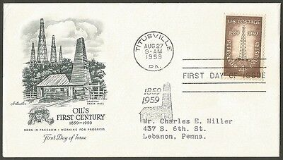Us Fdc 1959 Petroleum Industry 4C Stamp Artmaster First Day Of Issue Cover