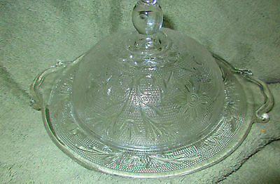 Vintage Clear Glass Round, Scalloped Butter Dish With Lid