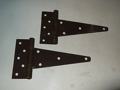 Vtg Antique Pair of Matching Hinges Rustic Barn Door Primitive Country Gate