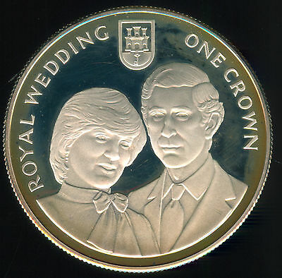 1981 Gibraltar Charles & Diana Wedding Silver Proof Crown