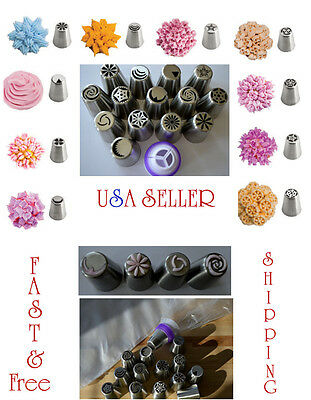 15 piece Russian Flower Cake Icing Piping Nozzles Decorating Tips Baking Tools