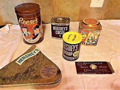 Lot of 5 Hershey's Chocolates Vintage Inspired Collectible Tins and Candy Bar -3