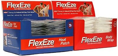 COMBO FlexEze Heat Patches & Body Wraps Heat Therapy Deep Muscle Back PainRelief