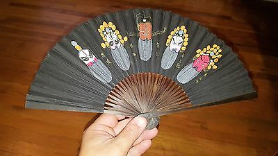 Vintage Chinese Fan With Beautiful Painted Scene Depiction Of Painted Masks Face