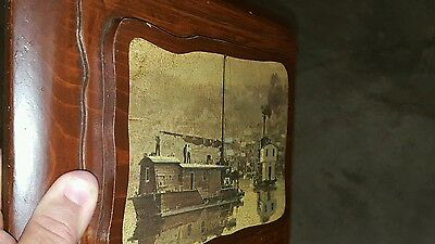 Vintage Nautical Scene Houseboat River Scene On 3D 3 Tier Wood Plaque Unique
