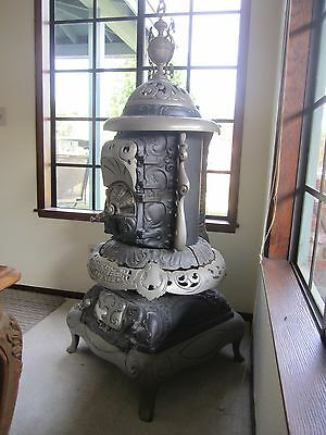 Antique Cast Iron Florence No151 Pot Belly Heater Parlor Stove Rococo Revival 62