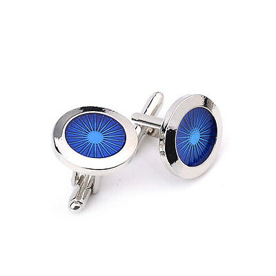 Vintage Blue Round Cufflinks Mens Wedding Party Classic Gift Shirt Cuff Links