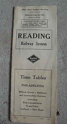 Vintage 1954 Reading Railway System Timetable with Map Phila AC