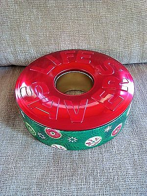 Empty Round Life Savers Collectible Holiday Tin ~ Red Green Christmas ~ EUC!