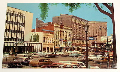 Downtown Street Scene - Old Cars - Watertown NY - Vintage Postcard -1950s