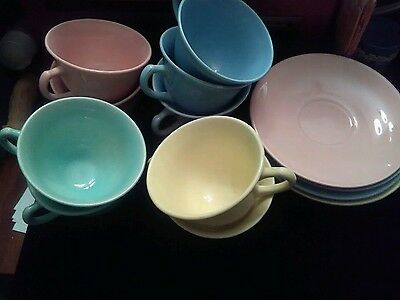 Lot Of 13 Lu Ray Pastel Dishes Coffee Tea Cups Saucers Yellow Pink Blue Green