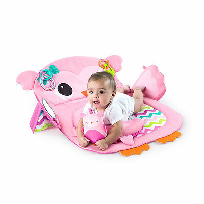 New ELC Girl Bright Starts Prop and Play Tummy Time Mat - Owl Toy From Birth