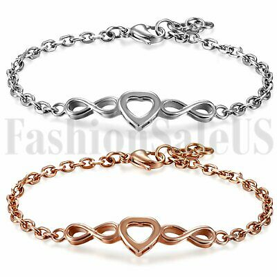 Women's Stainless Steel Charm Love Heart Infinity Dangle Chain Bracelet Bangle