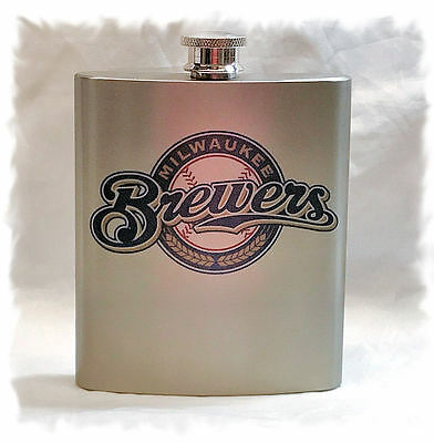 Milwaukee Brewers 7 ounce Stainless Steel Flask