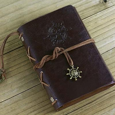 Retro Vintage Leather Bound Blank Page Notebook Note Notepad Journal Diary E EY