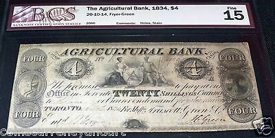 CANADA, THE  AGRICULTURAL BANK, FOUR DOLLARS  or 20  Shillings ,1835