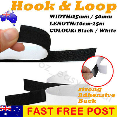 25mm 50mm Heavy Duty Adhesive Sticky Back Hook & Loop Fastening Tape Black White