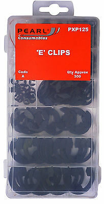 300 x Assorted E Clips Metal Snap Ring Kit with Storage Box Circlip PXP125