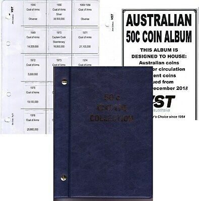 Blue 50c. VST.AUSTRALIAN small coin album 6 pages FREE POST 1966 to 2016